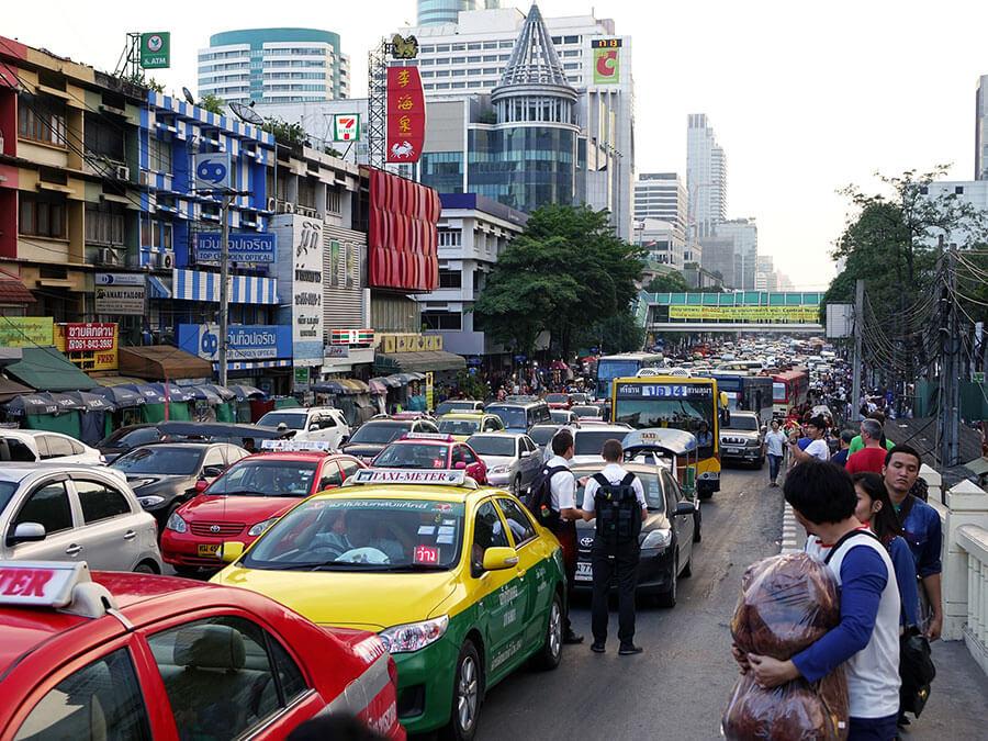 Traffic jam in Thailand.